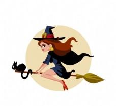 矢量卡通女巫