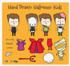 万圣节卡通孩子们服装