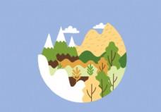 圆形山地景观插画