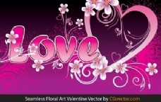 无缝花卉艺术Valentine Vector