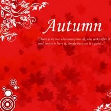 自由的秋天背景矢量图案红色背景海报图