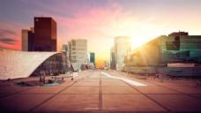 夕阳下的城市淘宝背景