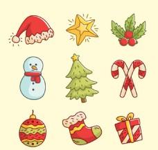 可爱手绘圣诞饰品