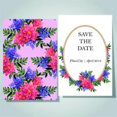 美丽植物花朵婚礼卡片图片