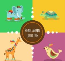 四种卡通矢量动物