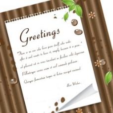 木制背景绿色叶子和便条纸元素图案背景