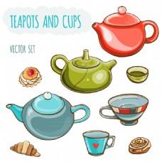 6款彩色茶壶与茶杯矢量素材
