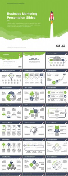 绿色扁平卡通风火箭科技感商务PPT模板