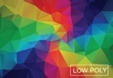 彩虹几何低多边形风格插画矢量
