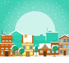 城市冰雪景观背景