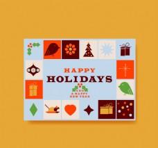 带有圣诞元素的蓝色卡平面设计