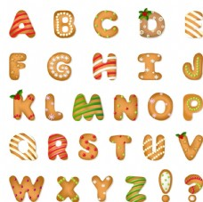 圣誕餅干字母和符號矢量圖