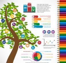 卡通綠樹教育信息圖矢量圖