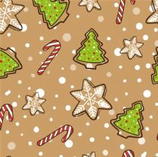卡通圣诞树和雪花无缝背景矢量图