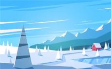卡通雪原风景矢量图