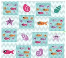 方格 小鱼和贝壳海螺