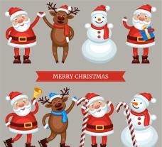 可愛圣誕角色矢量素材