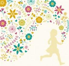 創意花中奔跑的女孩矢量素材