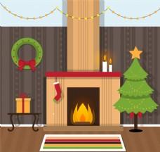 溫暖圣誕客廳矢量素材
