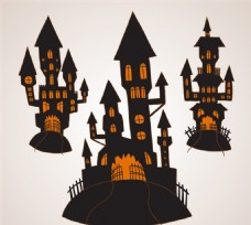 万圣夜城堡设计矢量图