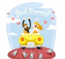 坐婚车的新娘新郎矢量图