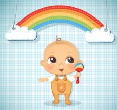 可爱婴儿和彩虹剪贴画矢量图
