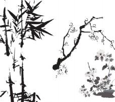 竹子 水墨梅花