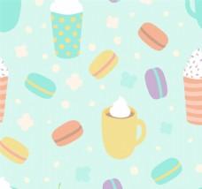美味甜点无缝背景矢量图