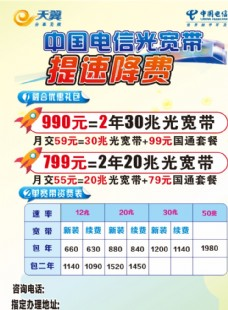 中国电信光宽带提速降费宣传单