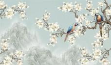 手绘花朵电视背景墙