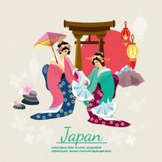日本扁平化人物元素传统