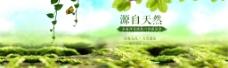 化妆品全屏绿色海报背景