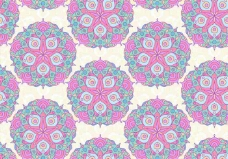 粉红色的矢量彩色曼陀罗图案