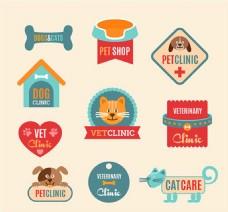 宠物医院标签矢量