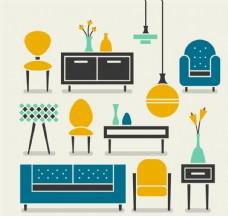 扁平精美家具设计矢量素材