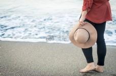 人,沙滩,度假,度假,沙滩,帽子