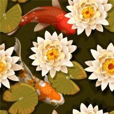 金鱼花朵背景图片