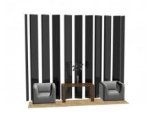 时尚沙发背景墙模型