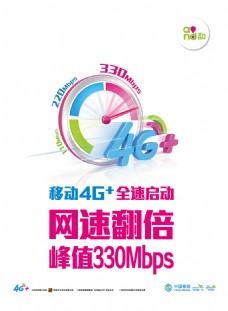 移动4G+网速翻倍宣传海报