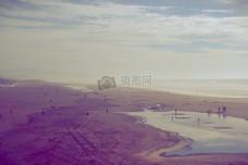 大海,蓝天,沙滩,度假,度假,沙,夏天,游泳,水坑