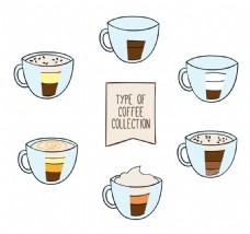 手绘矢量咖啡杯