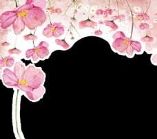 水彩粉色花艺边框底纹