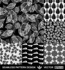 黑色叶子花朵图案图片